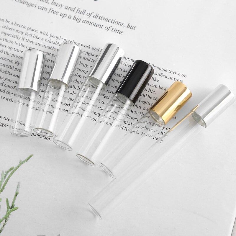 50 unids/lote 1ml 2ml 3ml 5ml 10ml Perfume vidrio Roll on botella con vidrio/Bola de Metal rodillo marrón viales para aceites esenciales finos