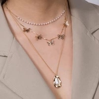 fashion irregular small butterfly multilayer metal pendant new joker necklace accessories