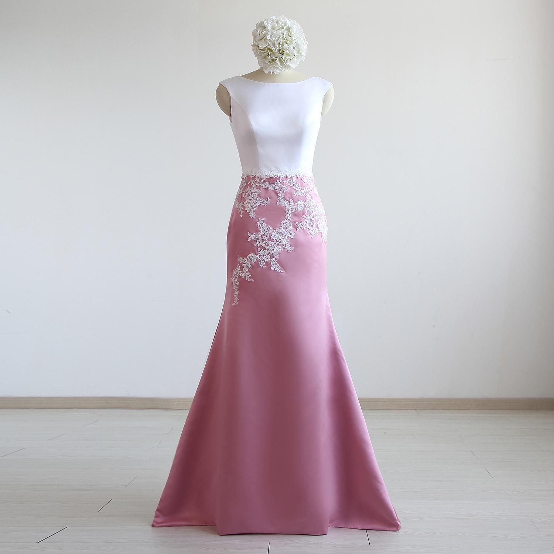 Satin Lace Floor-Length Mermaid/Trumpet Wedding Dresses Sweep /Brush Train Sleeveless Bridal Gowns Custom Made
