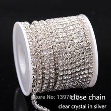 10 yrads/lote ss6-ss18 densa cristal strass corrente perto de cristal em prata costurar na corrente copo para vestuário ornamento acessórios