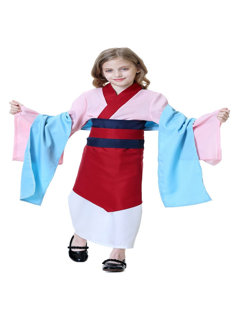 Cosplay Costume Hua Mulan Comic Traditional Cultural Tang Wear Includes Shawl + Top + Outer-Skirt + Skirt + Belt + Waist Seal