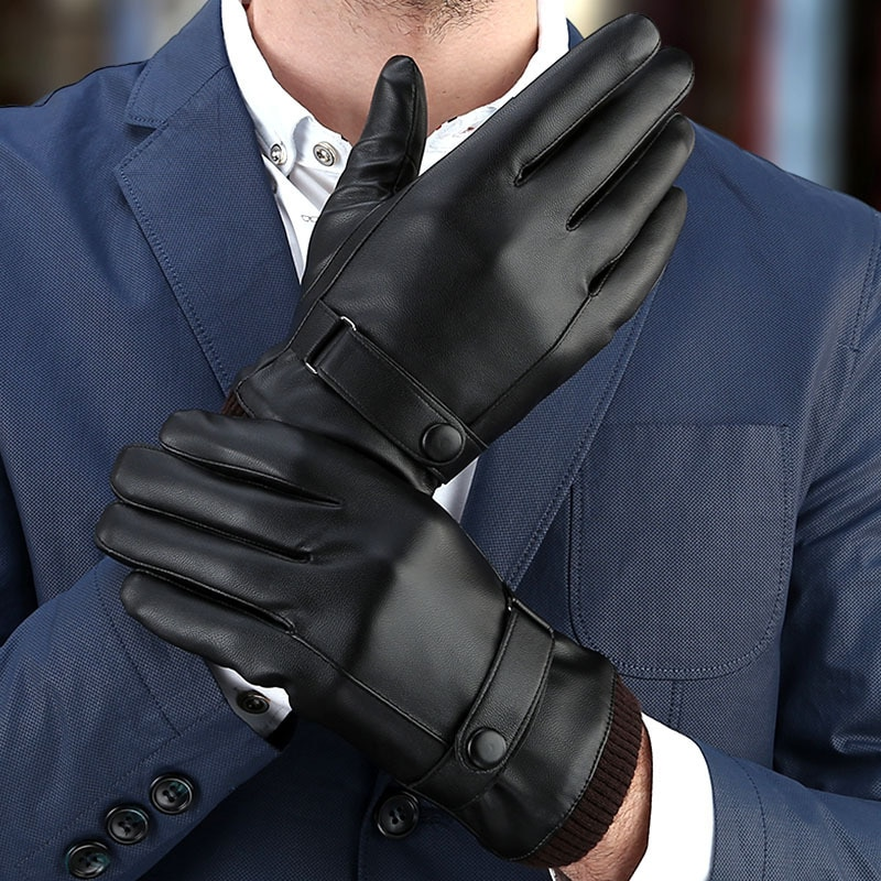Men's Gloves Black Winter Mittens Keep Warm Touch Screen Windproof Driving Guantes Male Autumn Winte