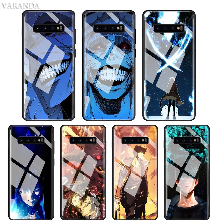 Solo nivelación Sung Jin funda para Samsung Galaxy S20 Ultra Plus S10 5G S10e S8 S9 Note 10 cubierta de vidrio templado negro suave para teléfono