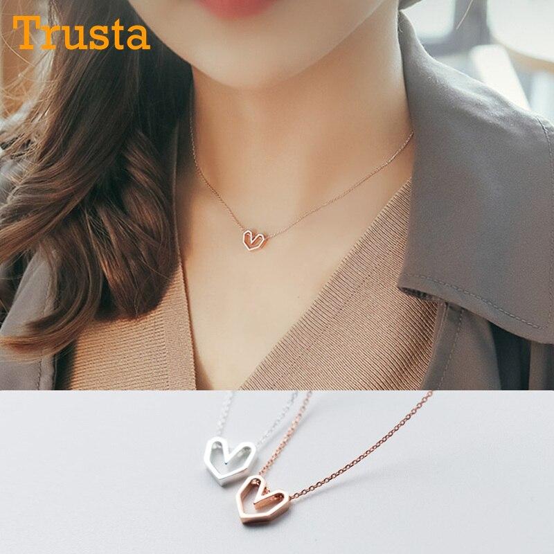 Trusta 2018 frauen Mode 100% 925 Sterling Silber Schmuck Hohl Herz Anhänger Kurze 40cm Halskette Nettes Geschenk Mädchen dame DS302