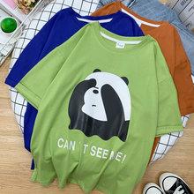 95% baumwolle frauen casual mode t-shirts Panda Kawaii harajuku Plus Größe Tops sommer grün kurze Tees streetwear gothic TYD20
