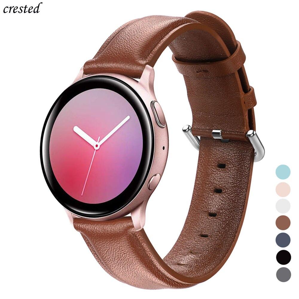 Correa de cuero para Samsung Galaxy watch de 42mm Gear S2/Sport Huawei GT 2 de 42mm y 20mm, pulsera, correa para Galaxy watch active 2 de 44mm y 40mm