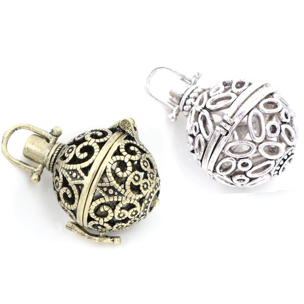 1 stücke 21x32mm Antike Bronze Medaillons Filigrane Glück Magic Box Antike Silber Überzogene Medaillon Charme Halskette Anhänger