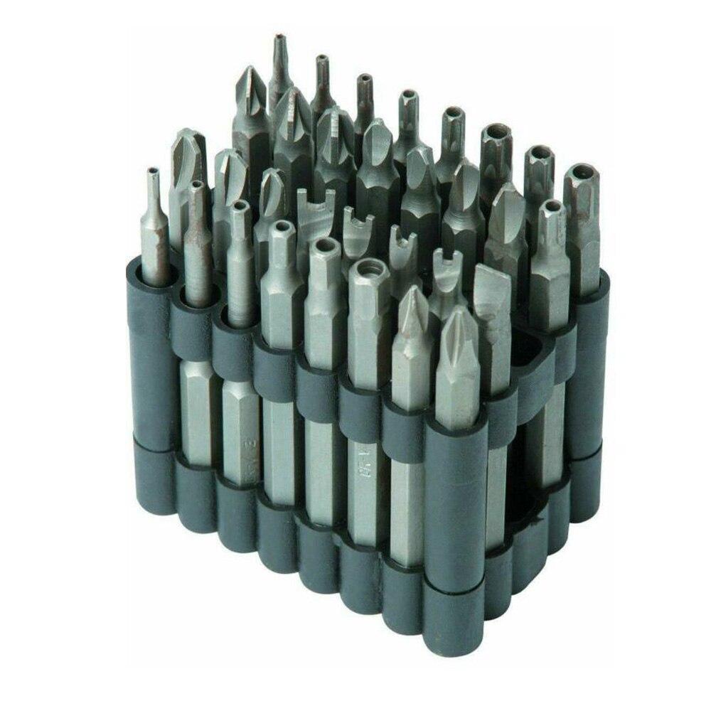 32 Uds 75mm Puntas de destornillador Extra Largo Alcance hueco Torx seguridad a prueba de manipulaciones estrella/Hex Tamper + Kit de puntas de destornillador de tres alas