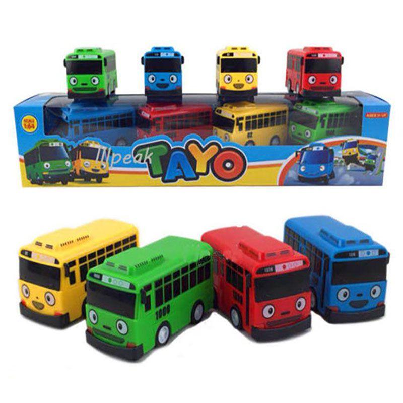 AliExpress - 4pcs/set Anime Tayo the Little Bus Educational Toys Cartoon Mini Plastic Pull Back Bus Car Model Toys for Kids Christmas Gifts