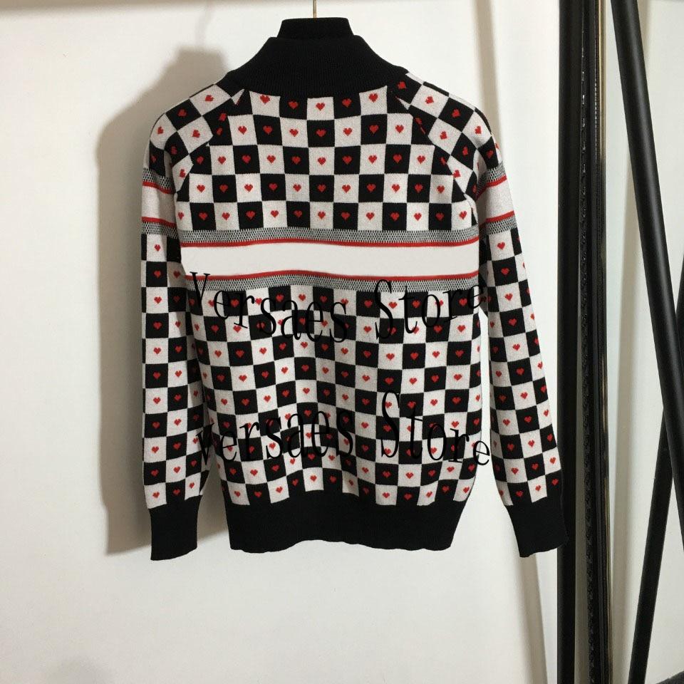 2021 deluxe design letter printing love black and white lattice fashion women's long sleeved cardigan temperament versatile coat enlarge