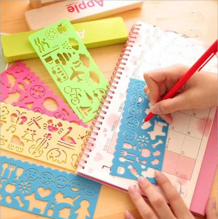 4 Pcs / set multi-function ruler student stationery cute drawing ruler cartoon art painting ruler children gift educational toy недорого