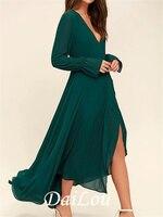 A-Line Mother of the Bride Dress Elegant V Neck Asymmetrical Chiffon Long Sleeve with Pleats Split Front 2021