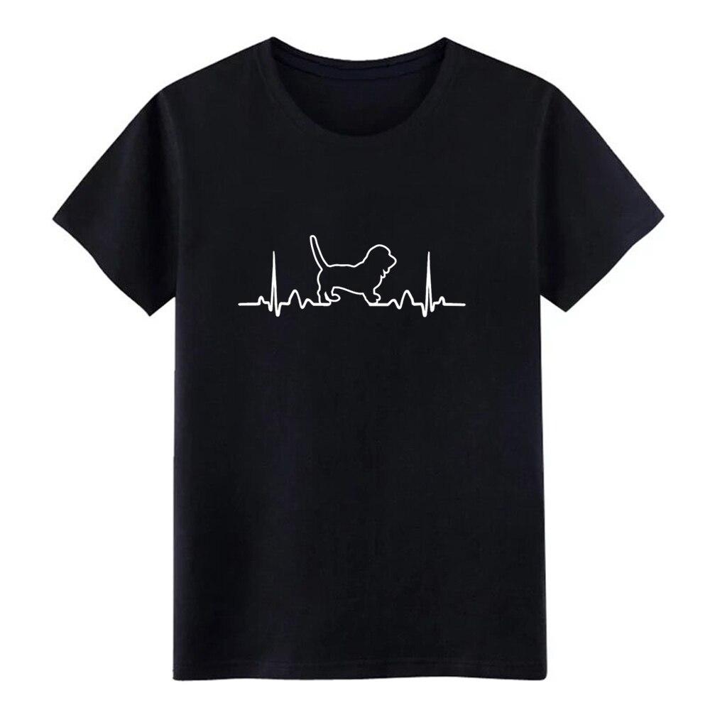Basset hound Bichón frisé, Camiseta de algodón personalizada con latido del corazón del perro para hombre, camiseta de estilo veraniego de moda única y interesante con cuello redondo