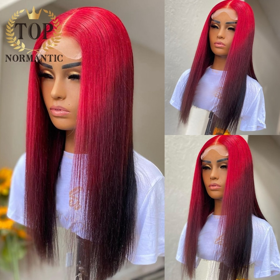 Topnormantic 4x4 Closure Wigs Preplucked Ombre Color Silky Straight 13x4 Lace Front Human Hair Wigs