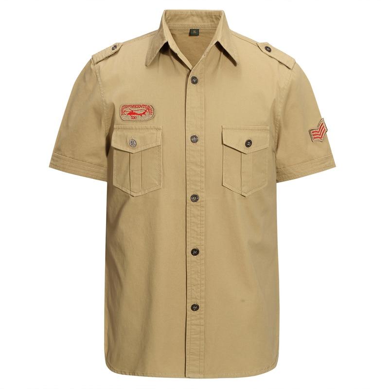 Рубашка-карго Мужская бренд Thoshine, 95% хлопок, нашивка для рубашки в стиле милитари, стиль сафари с коротким рукавом, уличная одежда в стиле мил...