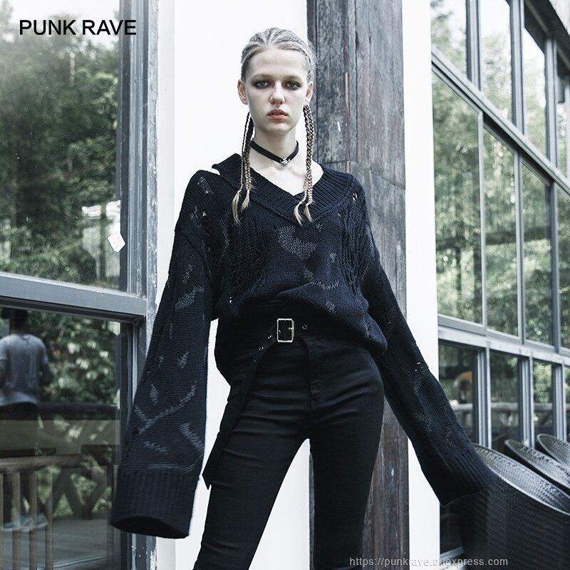 سترة نسائية محبوكة بفتحة رقبة على شكل v وأكمام طويلة وواسعة من PUNK RAVE ، مجموعة خريف وشتاء سوداء