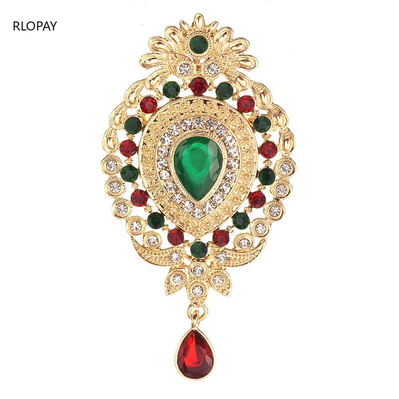 Broche de novia de corona de oro Vintage, joyería de cristal para mujer, broches de diamantes de imitación, broche de bufanda, alfileres, ramo para boda