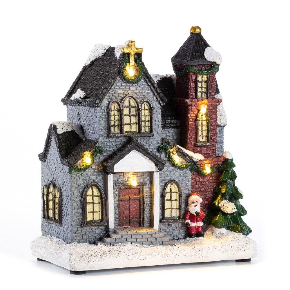 """Innodept12 6 """"resina Navidad escena pueblo casas ciudad con luz LED blanco cálido vacaciones regalos decoración de Navidad para el hogar"""