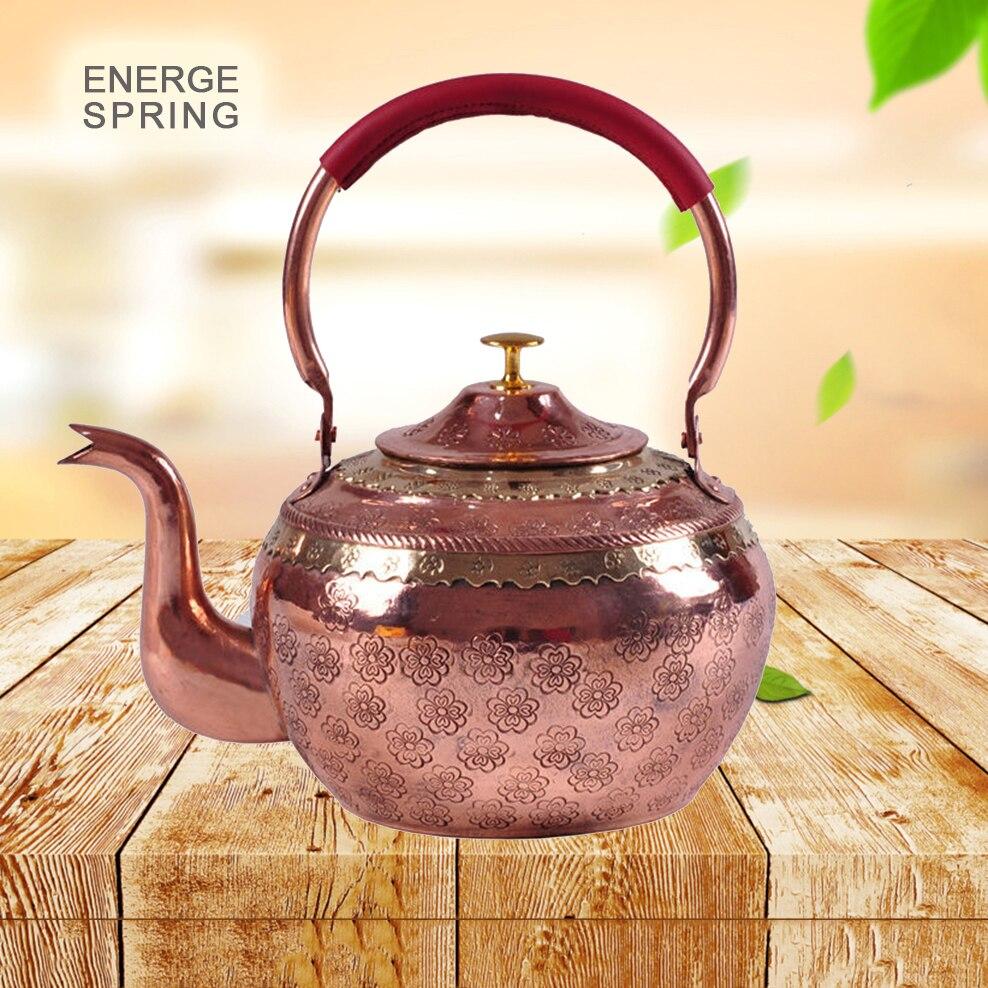 الأحمر النحاس إبريق الشاي الصينية الوطنية نمط اليدوية طقم شاي المشروب براد شاي مع الشاي استنزاف إبريق للموقد السيراميك الكهربائية