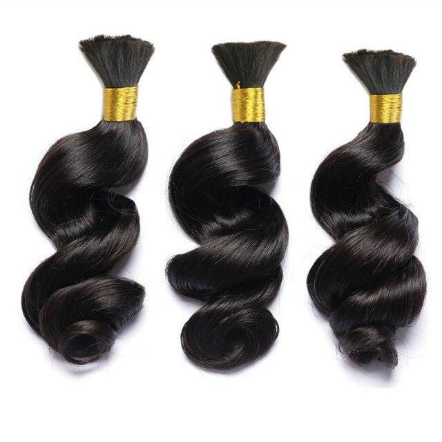 Бразильские человеческие волосы оптом для плетения, свободные волнистые волосы Remy, плетение без уточка, 3 пряди, человеческие волосы для нар...
