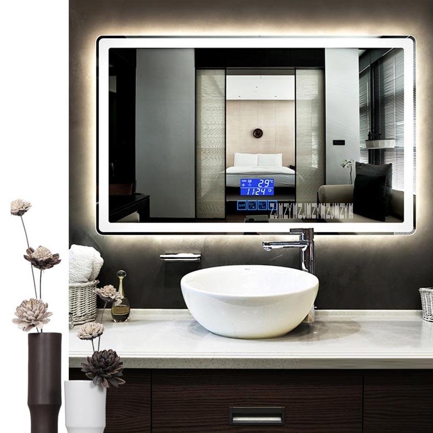 Ctl305 Smart Mirror Wall Mounted Anti Fog Bathroom Mirror Led Touch Switch Bluetooth Bathroom Mirror 110v 220v 4 8w M 800 1300mm Leather Bag