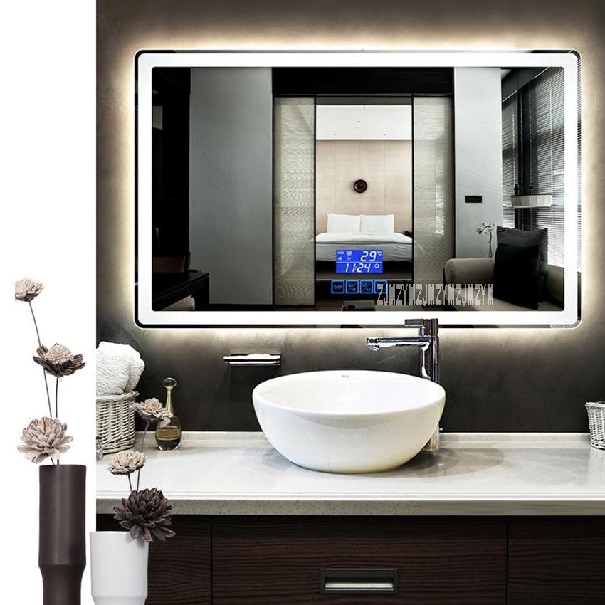 Ctl305 espelho de banheiro inteligente fixado na parede anti-nevoeiro led interruptor de toque bluetooth espelho de banheiro 110 v/220 v 4.8 w/m 800*1300mm