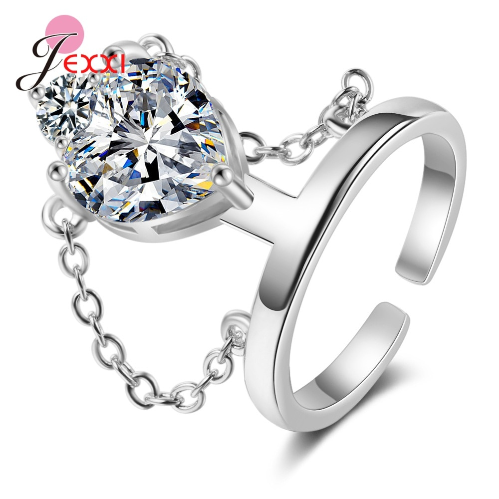 Genuine 925 Sterling Silver Ring Open Adjustable Finger Ring For Women Statement Wedding Multiple Sparkling Crystal Ring Jewelry sterling 925 silver color ring for women wedding jewelry natural garnet stone statement ring classic rose gold ring jewelry gift