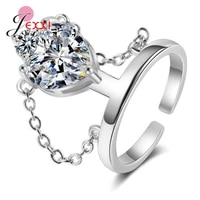 genuine 925 sterling silver ring open adjustable finger ring for women statement wedding multiple sparkling crystal ring jewelry