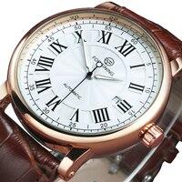 Часы наручные мужские автоматические, механические роскошные классические в ретро стиле, с кожаным ремешком, с календарем, 2020