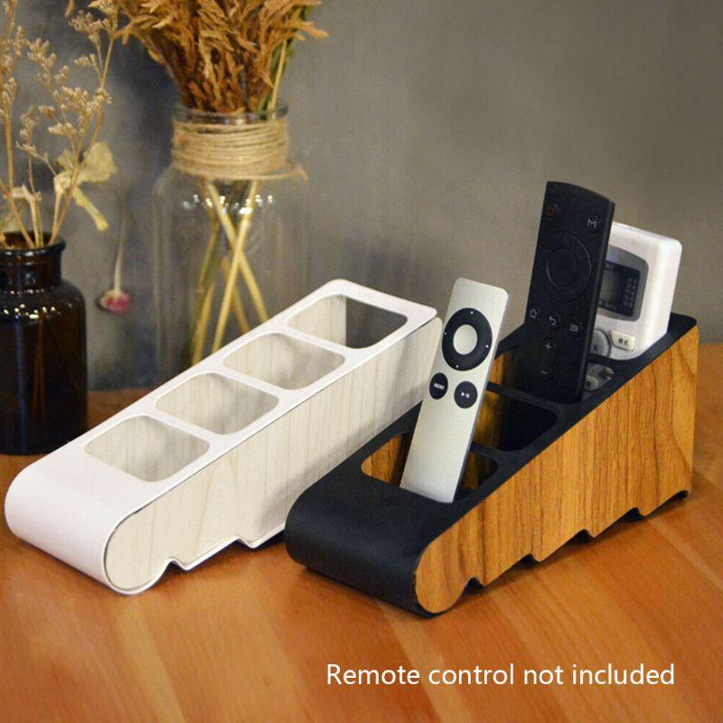 Organizer Remote Control Holder Desktop Four Grid Wooden Storage Box Compartment 95AF