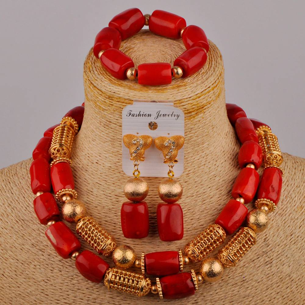 Red Coral Jewelry Set for Women Costume African Necklace Nigerian Wedding Coral Beads Jewelry Set