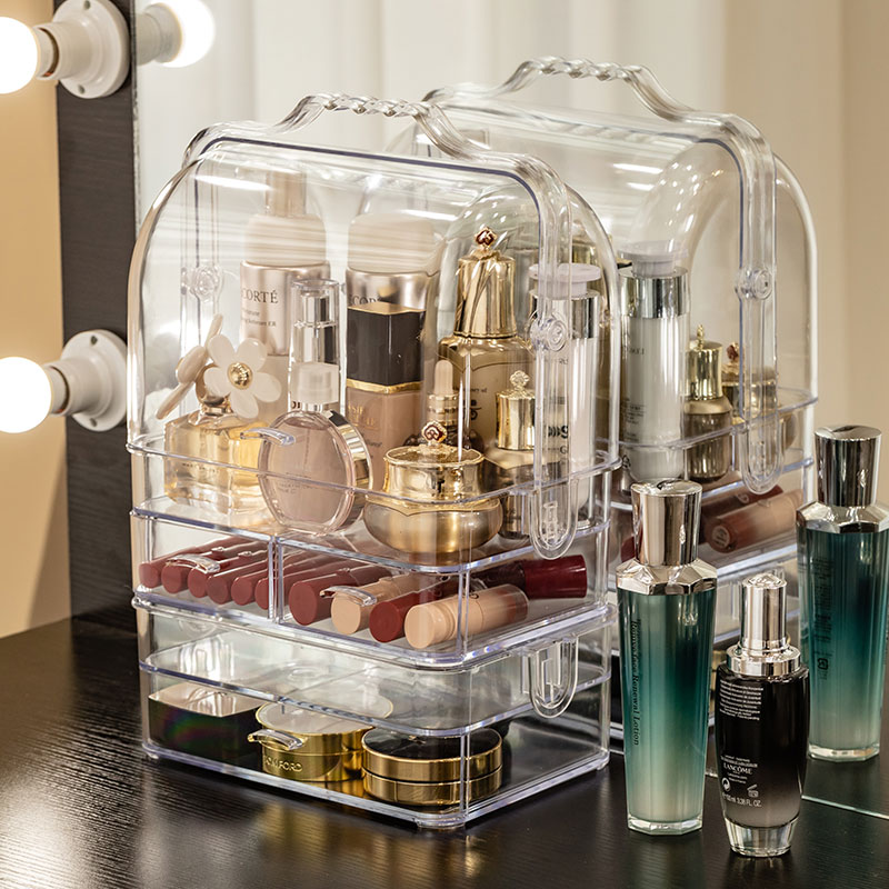 Bestsellery przezroczysty, odporny na kurz kosmetyki pudełko do przechowywania biżuterii podwójne etui otwarte toaletka szuflada kosmetyczna pudełko do makijażu