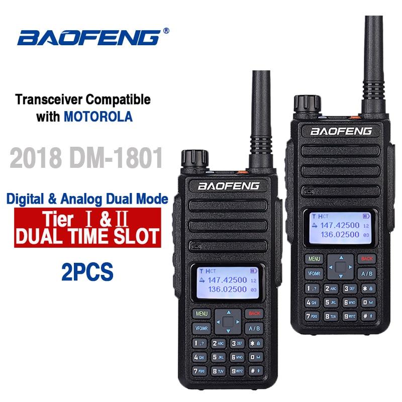 2 قطعة Baofeng DM-1801 هام راديو اسلكية تخاطب 50 كجم Vhf Uhf التوقيت المزدوج فتحة DMR راديو الرقمية التناظرية DM 1801 تقي Walki الإرسال والاستقبال