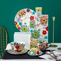 great apperance hand drawn ceramic tableware floral pattern plate bowl set household dinnerware 17inch rectangle cake bread tray