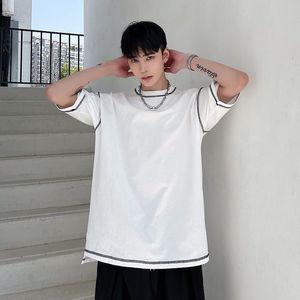 Solid Color O-neck Cotton T-shirt Men Korean Fashion Loose Casual T-shirt Men Streetwear Hip-hop Short-sleeved T-shirt Men