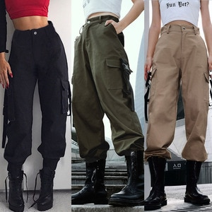 Womens Cargo Utility Work Hiking Army Military Multi Pockets Combat Casual Pants High Waisted Loose Long Sports Pant