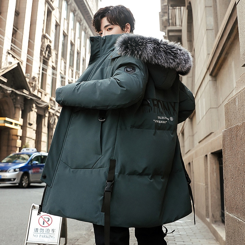 Mid-length Jacket Men's 2020 Winter New Korean Style Trendy Men's Warm Thick Down Jacket Loose Hooded Cotton Jacket