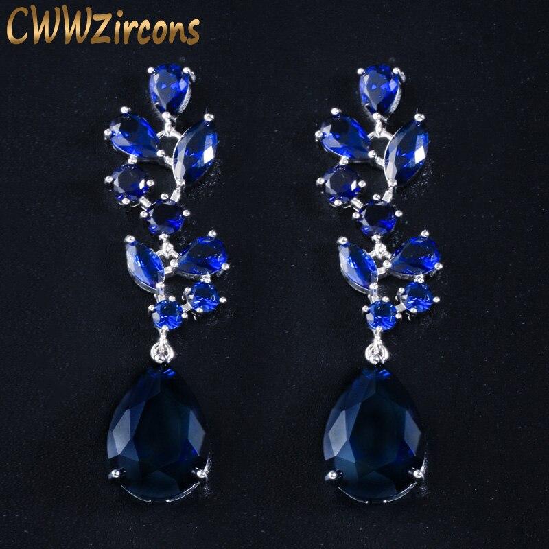 CWWZircons elegante azul oscuro Cristal de circonita cúbica largos grandes pendientes colgantes para mujeres vestido de boda accesorios de joyería CZ024