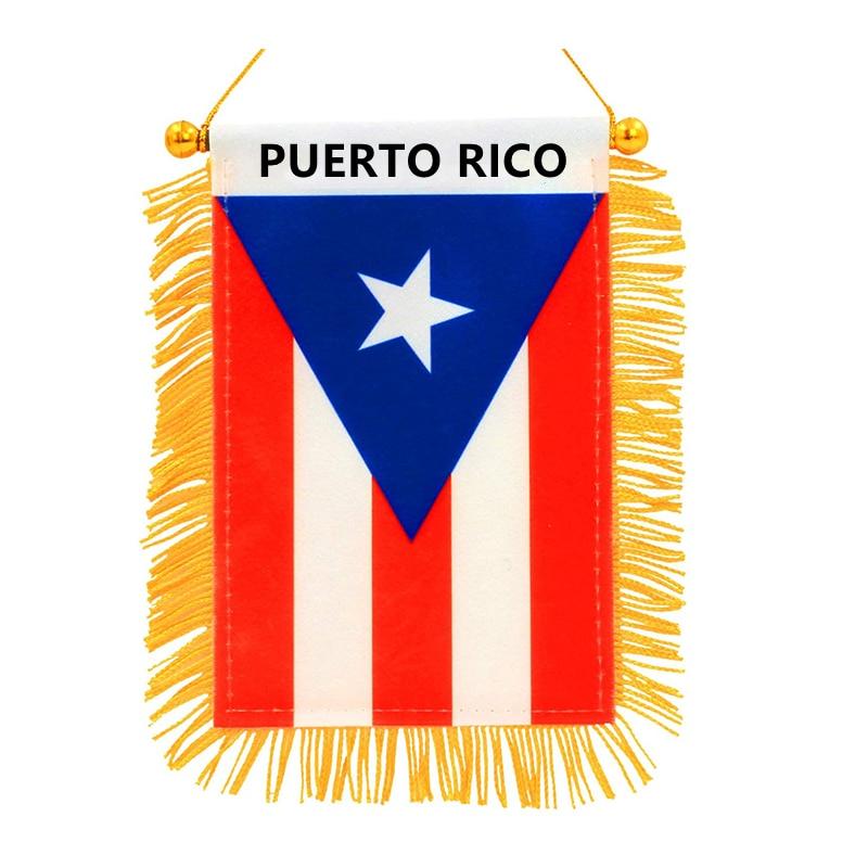 Mini Bandera Nacional de Puerto Rico, colgante decorativo, doble cara, tela opaca...