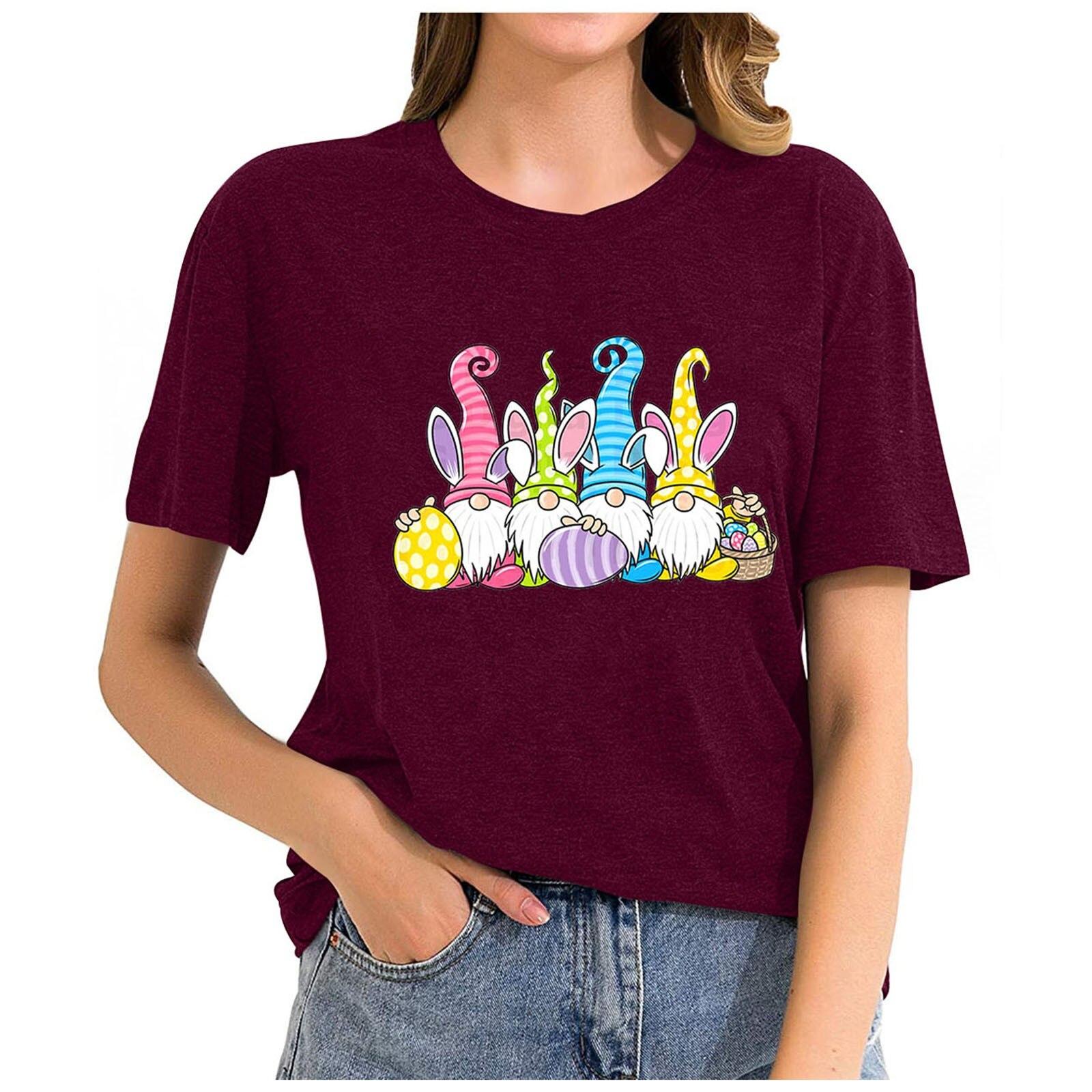 Camiseta con estampado de huevos de los gnomos de Pascua, camiseta de...
