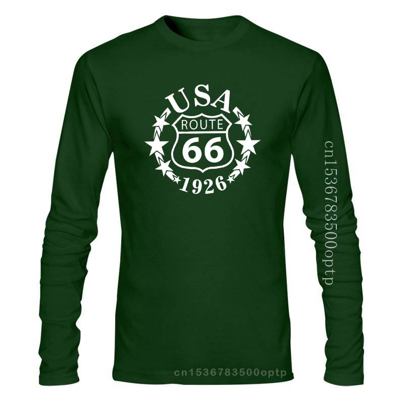 New 2021 Summer 2021 Cool Tee Shirt Classic Route 66 USA Men's Black T-Shirt, Will Rodgers Highway, Novelty Gift Cotton T-shirt