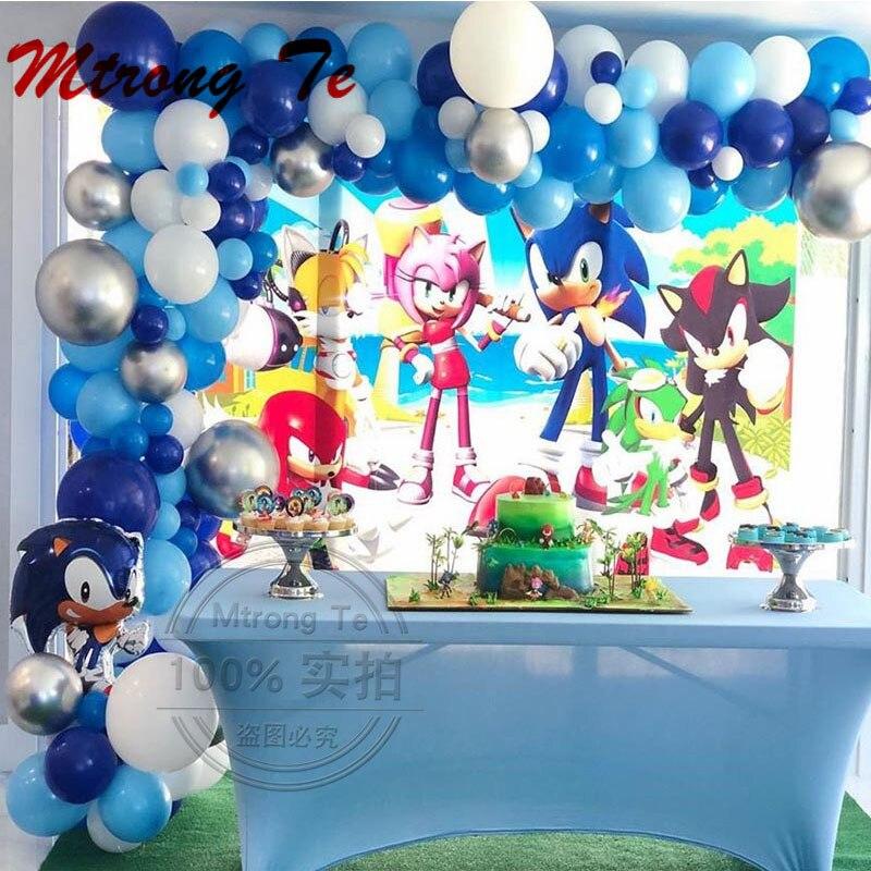 Globos de Sonic, 111 Uds., globo de lámina de Superhéroes para niño y niña, feliz día de brujas, Fiesta Temática, juego de arco para decoración, guirnaldas, Globos de aire de látex