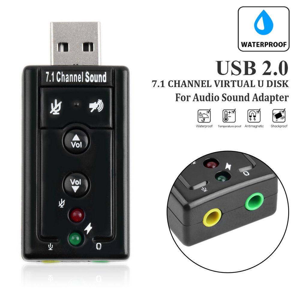Professional 7.1 Channel Universal External USB Sound Card Mini USB 2.0 12Mbps U Disk For Audio Sound Adapter