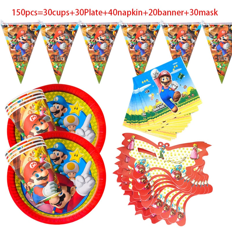 Marioed theme Party Decoration Tableware Paper Cups Plates Mask Horn Tablecloth Baby Shower Banner Kids Birthday Supplies