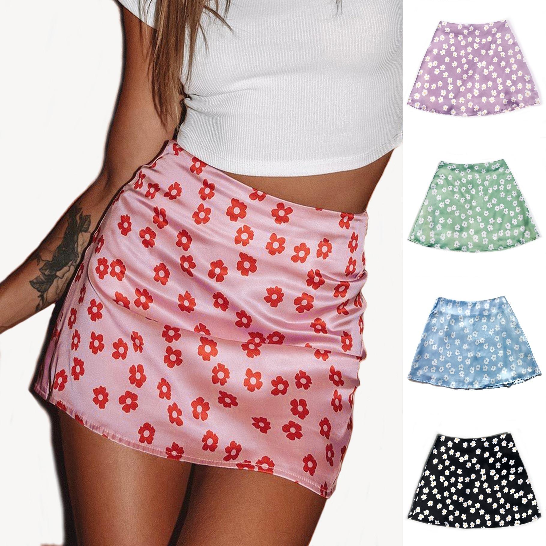 Women's 2021 Summer High Waist Satin Printed Short Skirt European and American Style Pink Flower Skirt
