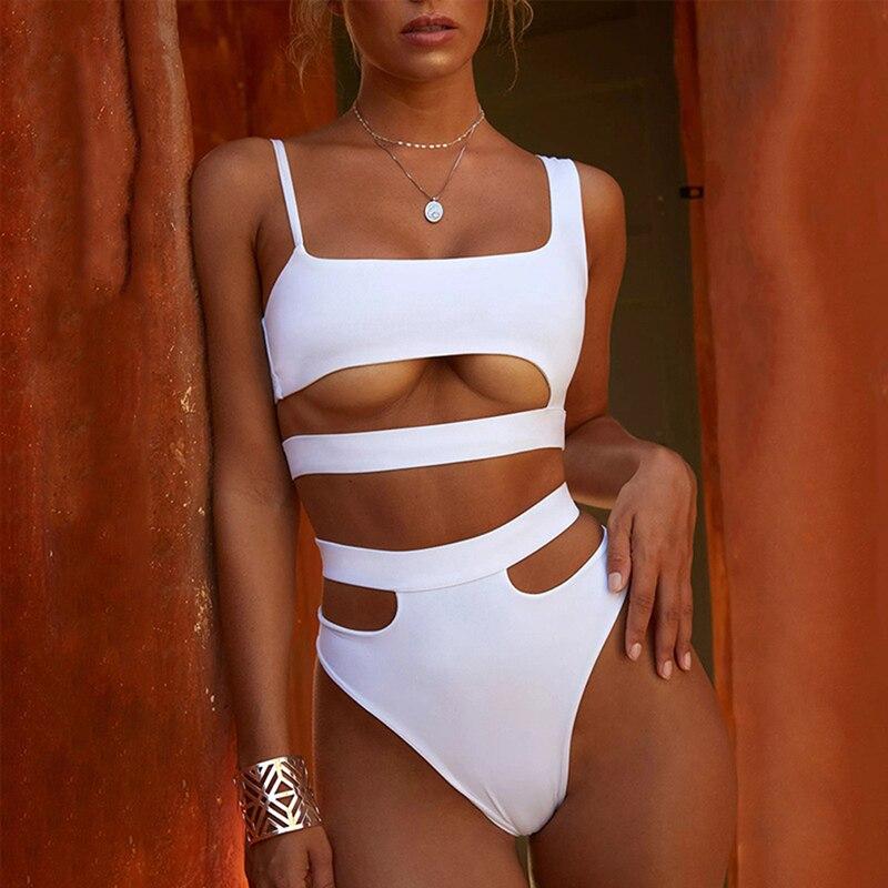 Sexy Thong One Piece Swimsuit 2020 Women Solid Bandage Bathing Suit Swimwear White Black High Waist Cut Out Monokini