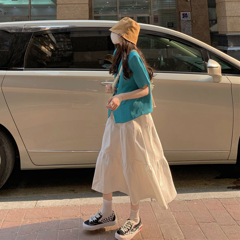 HOUZHOU Solid Color Women Vintage White Skirt Summer Korean Style Simple Loose A-line Long Student Streetwear Casual
