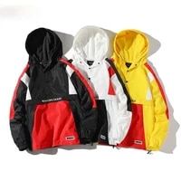 trend brand men fashion jackets spring new high street mens patchwork hooded jacket coats windproof casual jacket male