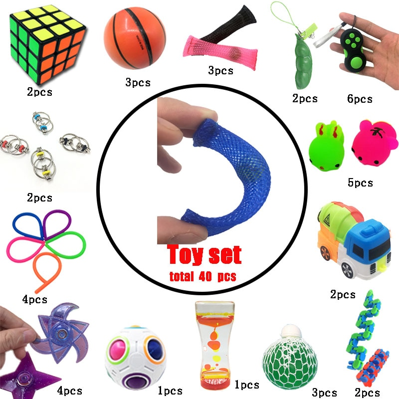 New Squeeze Toys Funny Combination 40 Pieces Extrusive-Solving Fidget Kids Hot Selling Various Styles Set Wholesale