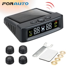 FORAUTO Smart Car TPMS Tyre Pressure Monitoring System Solar Power Digital LCD Display Auto Security